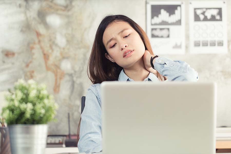 neck pain therapy needed for office worker