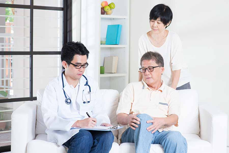 man seeking medical consultation with his wife